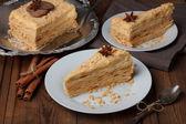 Slice of layer cake — Stock Photo