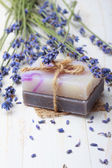 Natural handmade soap with lavender — Stock Photo