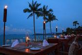 Outdoor restaurant tables — Stock Photo