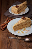 Slice of layer cake — Stock Photo