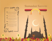 Ramadan Kareem Vector Design Old Paper Background — Stok Vektör