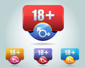 Vector Icon of 18 plus button multicolored — Vector de stock