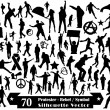 70 Protester Rebel Symbol and Silhouette Vector Design — Vettoriali Stock