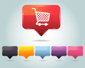 Vector glossy icône panier de magasinage et multicolore — Vecteur