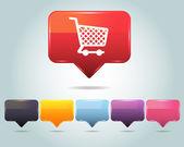 Vektor glänzend shopping korb-symbol und mehrfarbiger — Stockvektor