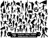 70 Protester Rebel Symbol and Silhouette Vector Design — ストックベクタ