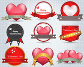 Valentine Sticker Heart Vector — ストックベクタ