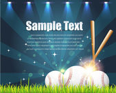 Baseball Theme Shiny Sky Vector Design — Stock Vector