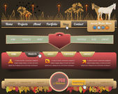 Web Elements Vector Header & Navigation Templates Set Autumn Season Style 02 — Stok Vektör