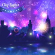 City Lights Landscape Night Vector Design - Stock Vector