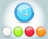 Vector Glossy Round Search Icon Button and multicolored — Stock Vector