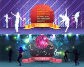 Baile fiesta banner fondo flyer plantillas diseño vectorial — Vector de stock