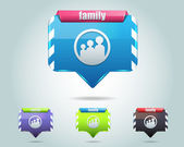 Vector Glossy Family Icon Button and multicolored — Stock Vector