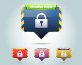 Vector Glossy Member Login Icon Button and multicolored — Vector de stock