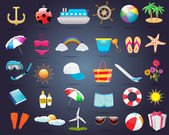 30 Summer Icon Set Vector Design — Stock Vector