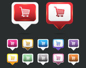 Vector Glossy Shopping basket icon and multicolored — Stockvector