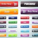 Web Elements Multicolored 3d Shiny Vector Button Set — Stock Vector