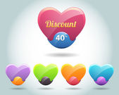 Set of colorful vector Icon Heart Ball — Vecteur