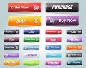 Web elementos multicolores 3d vector brillante botón set — Vector de stock
