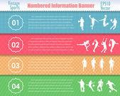 番号付き情報スポーツ バナー ビンテージ パターン ベクトル デザイン — ストックベクタ