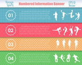 Informações numeradas esporte banner vintage padrão vector design — Vetorial Stock