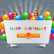 Wektor stockowy : Vector illustration of happy birthday card design