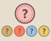Vector Vintage Sticker Question Mark Icon Button and multicolored — Stock Vector