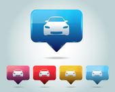 Carro ícone botão vector design multicolorido — Vetorial Stock