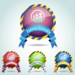 Vector Glossy Round Ribbon Family Friendly Icon Button and multicolored - Imagens vectoriais em stock