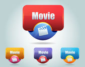Vector Glossy Movie Icon Button — Stock Vector