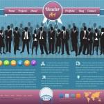 Vintage Style Business Team Website design vector elements — Stock Vector