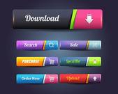 Conjunto de botão web elementos vetoriais brilhante — Vetorial Stock
