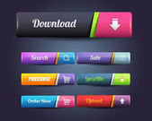 Web Elements Shiny Vector Button Set — Vector de stock