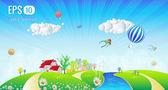 Beautiful Spring Summer Signboard Landscape Illustration — Stock Vector
