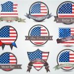 National flag badges set United States — Stock Vector #12868604