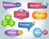 Set di forma di banner icona colorata vettoriale — Vettoriale Stock