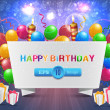 Vector illustration of happy birthday card design — Vettoriale Stock #12885607