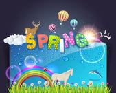 Bahar şablon çizimi — Stok Vektör