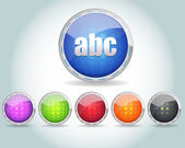 Vector Glossy Round abc Icon Button and multicolored — Vettoriale Stock