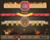 Web Elements Vintage Autumn Vector Header Navigation Templates Set — ストックベクタ