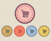 Vector Vintage Sticker Basket Icon Button and multicolored — Stock Vector
