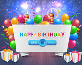 Vector illustration of happy birthday card design — Vettoriale Stock