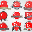 Turkey flag badges set — Stock Vector