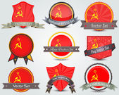 Ussr flag badges set — Stock Vector