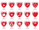 Hjärtat ikonuppsättning — Stockvektor