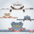 Web Elements Vector Header & Navigation Templates Set — Image vectorielle