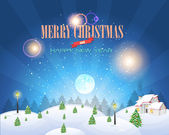 Merry Christmas Village Landscape Vector Design — Stock Vector