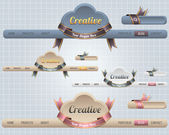 Web Elements Vector Header & Navigation Templates Set Autumn Season Style 02 — ストックベクタ