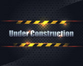 Under Construction Metallic Background Vector Design — Stock Vector