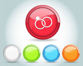Vector Glossy Ring Icon Button and multicolored — Stock Vector